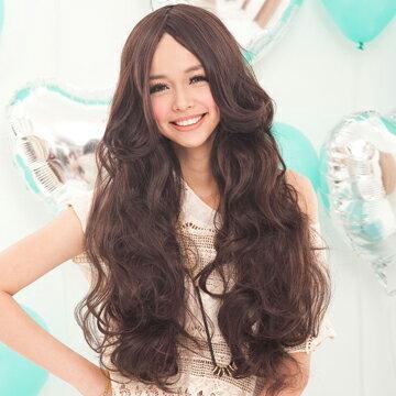 性感中斜分長波浪捲髮【MA047】高仿真整頂假髮☆雙兒網☆
