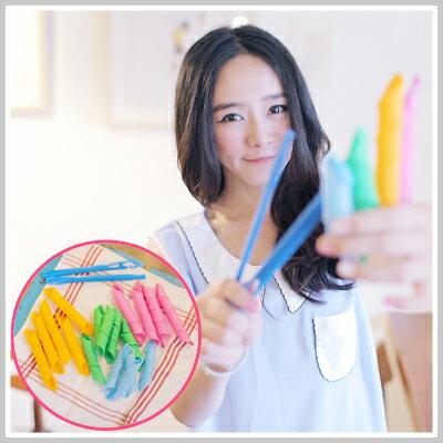 ~雙兒網~輕鬆打造MODEL大波浪漫捲髮型~LKH38~彩色彈力魔髮捲^(18入^)