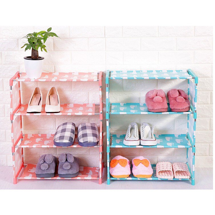 DIY鞋櫃 宿舍必備 四層防水防髒鍍膜布藝鞋架  書櫃收納櫃置物櫃 小鞋櫃 【HH28】