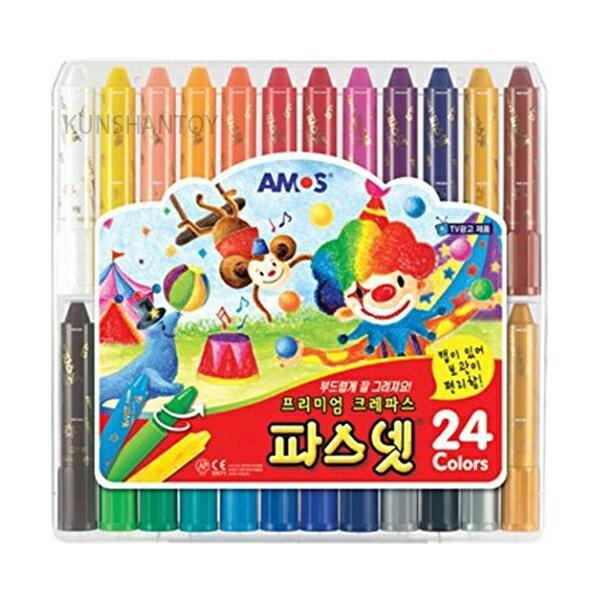 【崑山玩具X日韓精品】AMOS 24色水洗蠟筆