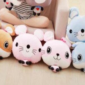 美麗大街【HB1061101033】可愛卡通老鼠情侶抱枕公仔加厚空調毯三合一靠枕靠墊毛絨玩具(粉色款)