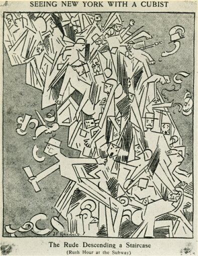 Cartoon Cubism 1913 NSeeing New York With A Cubist - The Rude Descending A Staircase (Rush Hour At The Subway) Cartoon From The Evening Sun 20 March 1913 Satirizing The Marcel Duchamp Painting Nude De bc8481bf05bbc248c5feec8ef8f846f0