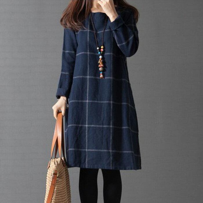 糖衣子輕鬆購【HY8974】韓版時尚潮流寬鬆文藝格子棉麻連身裙