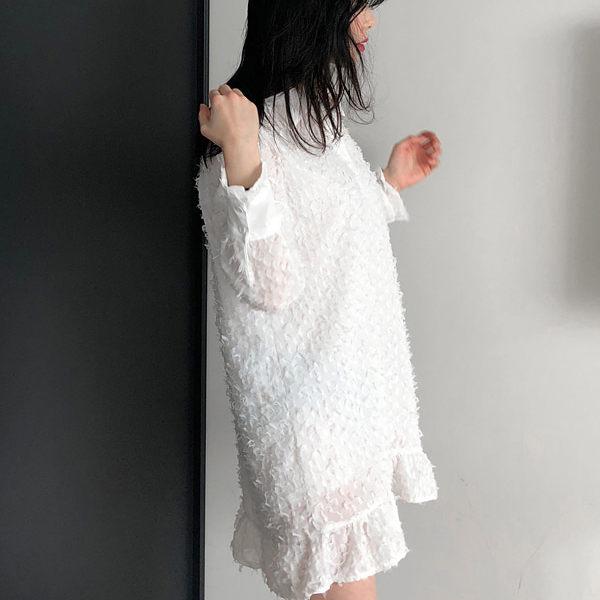 PSMall輕飄感純色毛毛連身裙洋裝【T2314】