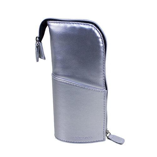 【KOKUYO】  多功能PU直立式筆袋(銀色) PS006-S