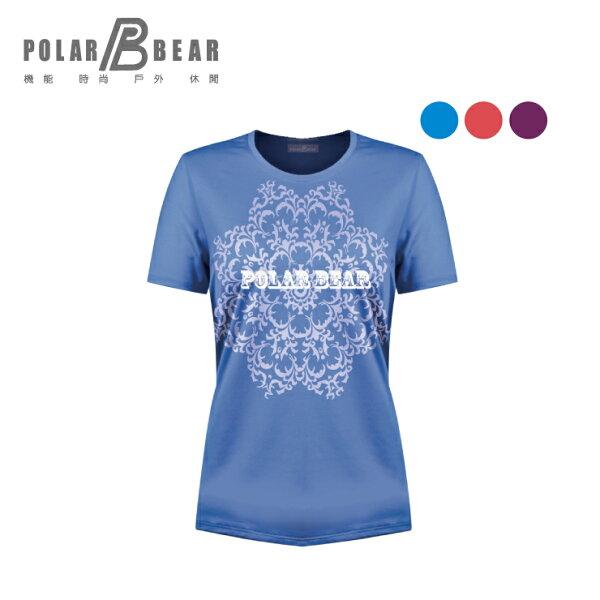 【POLARBEAR】女吸濕排汗快乾彈性圓領印花T恤