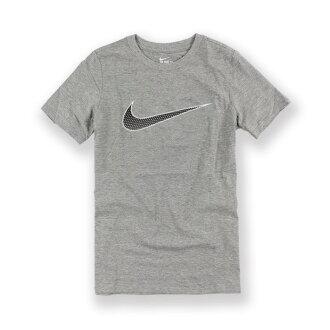 美國百分百【全新真品】Nike 網點 logo T恤 耐吉 短袖 T-shirt 運動休閒 灰色 上衣 XS號 青年版 I013