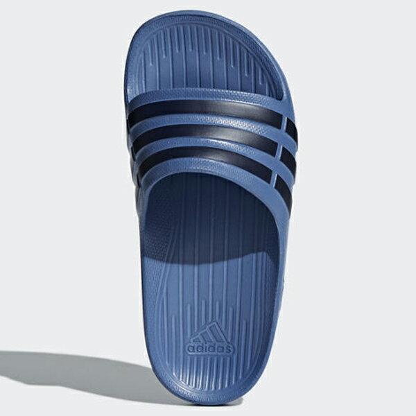 ADIDASDURAMOSLIDE童鞋大童拖鞋輕量防水一體成型藍黑【運動世界】CP9383