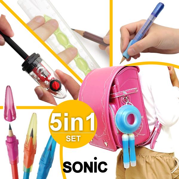 SONIC 五件入文具組合包 ( 甜甜圈安全收納跳繩 + 雙迴旋削筆器 + 鉛筆增高器 + 三角習字握筆器 + 矽膠止滑尺) 開學必備