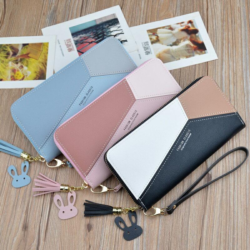 多卡位皮夾 長皮夾(女)女士手拿錢包女長款三色拼接撞色氣質簡約拉鍊手機包學生錢夾皮夾『xy0242』