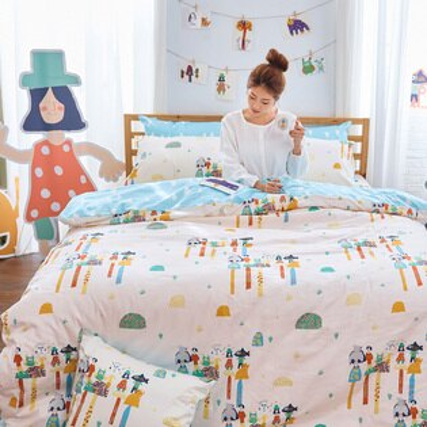 戀家小舖:床包被套組雙人加大-100%精梳棉【純真天賦-藍】點點善獨家聯名,含兩件枕套,戀家小舖,台灣製