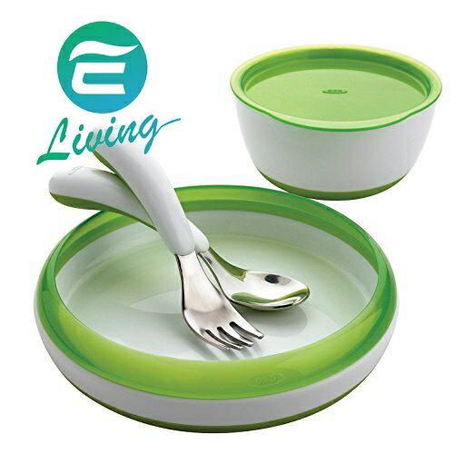 OXO tot 嬰兒餵食練習餐具組 (無毒4件餐具組+防滑餐盤) 綠色 #93072