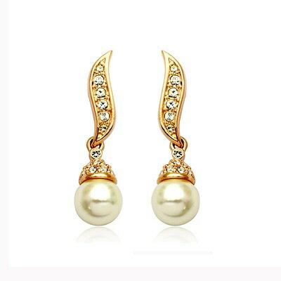 ~玫瑰金耳環925純銀鑲鑽耳飾~古典優美珍珠 七夕情人節 女飾品2色73gs105~ ~~