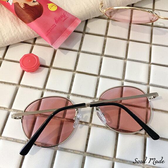 Soul Made - 小圓銀框粉紅鏡
