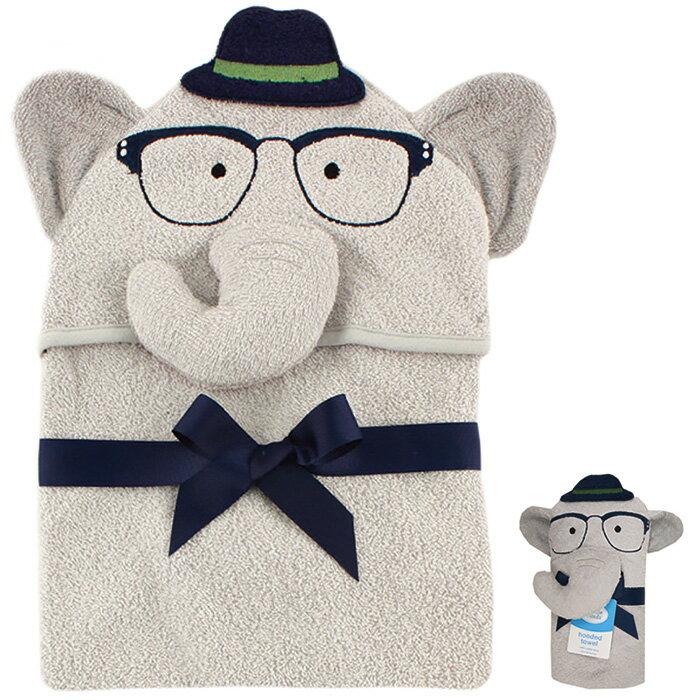 【hella媽咪寶貝】美國 luvable friends 嬰幼兒動物造型連帽浴巾 灰色大象(LF57052)