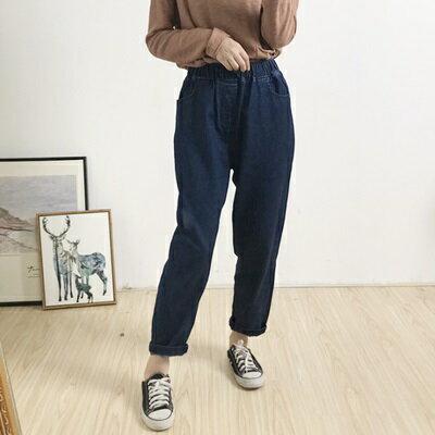 牛仔褲直筒長褲-簡約百搭舒適鬆緊腰女褲子2色73tq2【獨家進口】【米蘭精品】 0