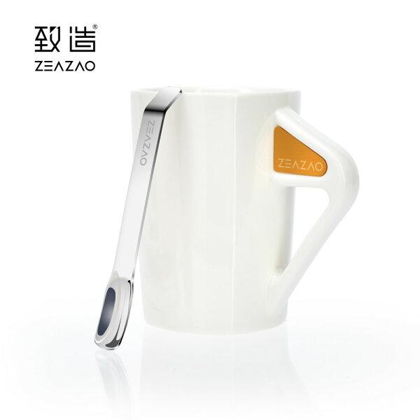 致造ZEAZAO致在杯強磁吸附帶勺馬克杯陶瓷馬克杯簡約陶瓷杯辦公杯咖啡杯帶勺調羹禮物情人節禮物推薦