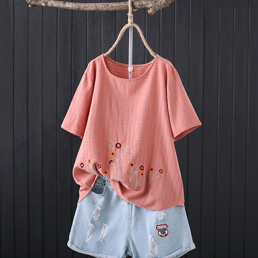 純棉提花布刺繡圓領休閒寬鬆短袖t恤(3色XL~4XL)【OREAD】 0