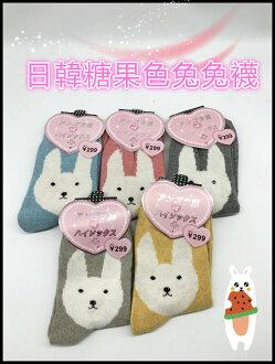 襪子 日韓糖果色兔兔襪 中筒襪 女襪 五色隨機出貨
