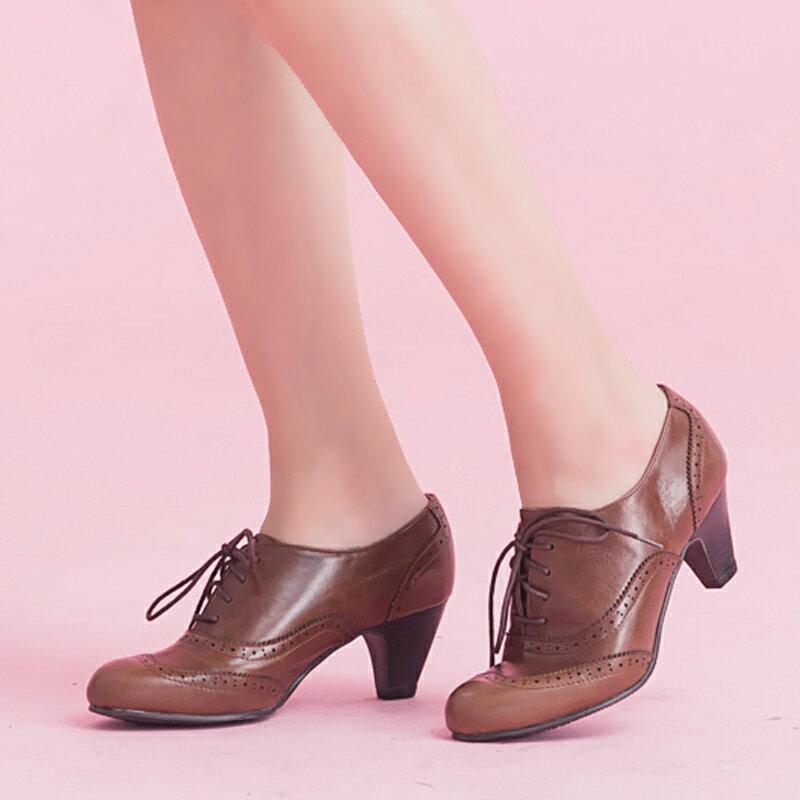 【B2-15062L】軟Q鞋墊牛津真皮中跟踝靴_Shoes Party 2