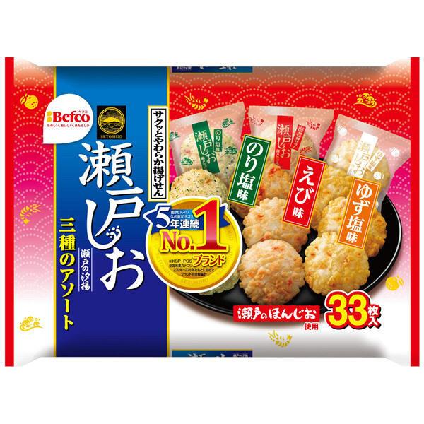 《Chara 微百貨》 日本 栗山 Befco 瀨戶 汐揚 米果 仙貝 家庭號 33入 151.8g 露營 野餐 4