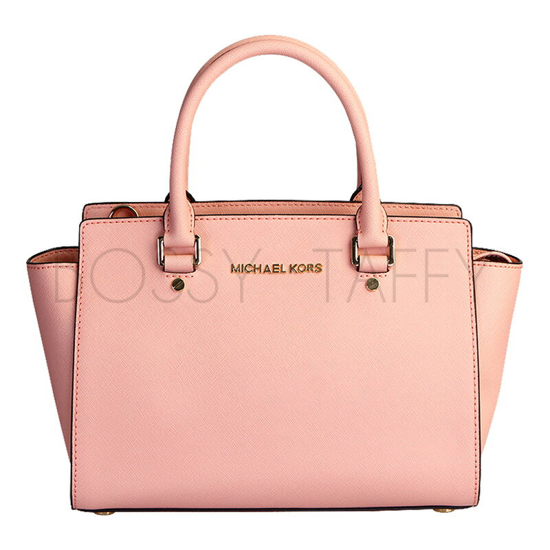 MICHAEL KORS 30S3GLMS2L 淺粉皮革中號手提斜背梯型托特包 Selma Saffiano Leather Medium Satchel pale pink
