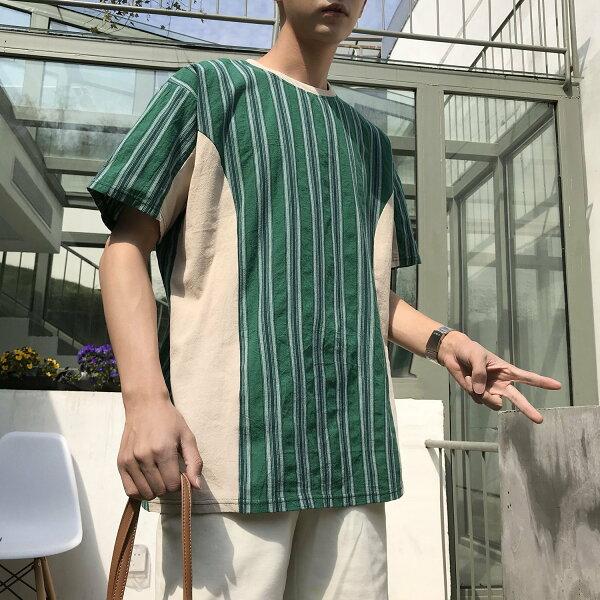 FINDSENSEH12018夏季日本個性拼接條紋T恤潮流寬鬆短袖時尚男體恤上衣