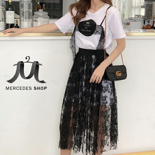 《全店75折》小清新bf心機俏皮+甜美蕾絲裙套裝(S-XL,2色)-梅西蒂絲(現貨+預購)