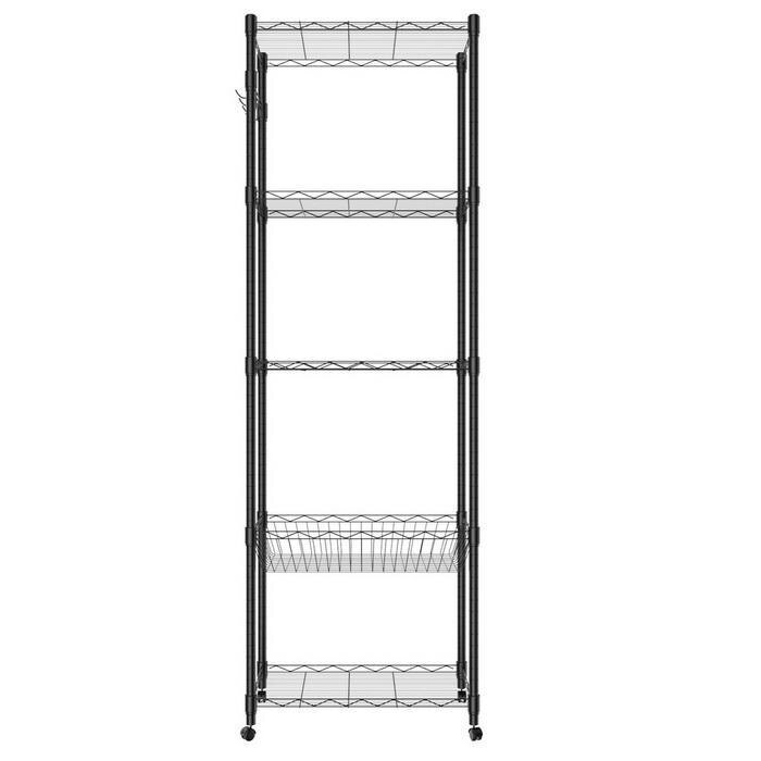 5-Tier Steel Shelving 71inch Height with Wheels 1