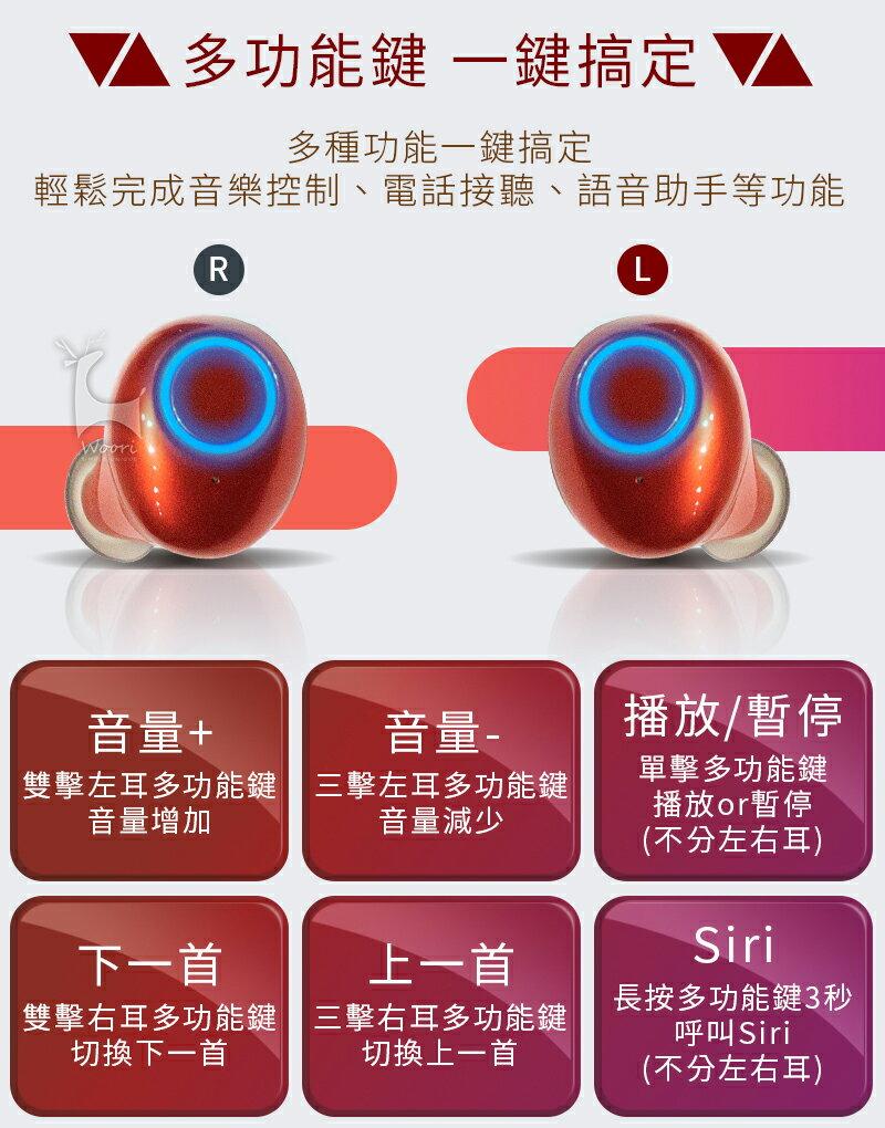 【公司貨】真無線藍牙5.0 雙耳無線藍牙耳機 防汗防水 運動藍芽耳機 無線耳機 聽音樂LINE通話 語音控制 磁吸充電盒 8