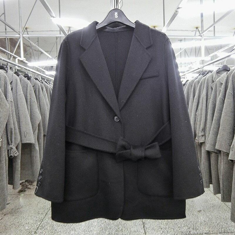 毛呢大衣羊毛外套-黑色寬鬆大口袋短版女外套73wb42【獨家進口】【米蘭精品】 2