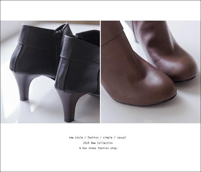 ★399免運★格子舖*【KITW6879】MIT台灣製 嚴選韓版絕美女神 質感皮革 粗跟顯修長反摺裸靴短靴 2色 2