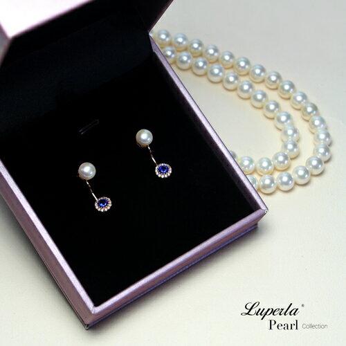 大東山珠寶 浪漫微醺海洋藍 玫瑰金天然珍珠耳環 雙用耳環 3