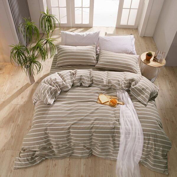 床包枕套單人床包組色織水洗棉魯伯特[鴻宇]台灣製2117