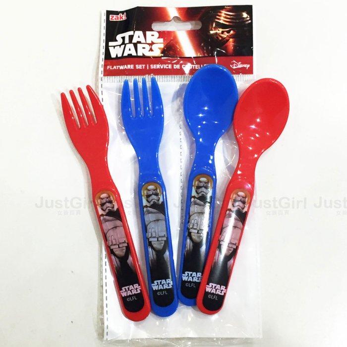 星際大戰 原力覺醒 STAR WARS 湯匙 叉子 4件組 兒童 嬰幼兒 餐具   ^~