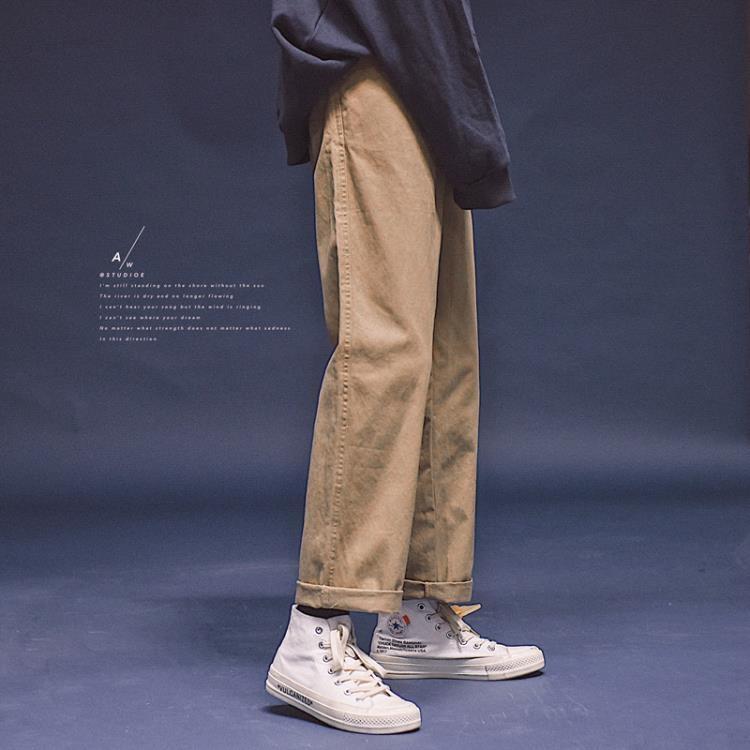 闊腿褲子女春秋日系ins復古純色直筒寬鬆百搭顯瘦bf風工裝休閒褲 凡卡時尚