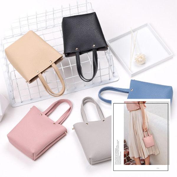 韓版 素面皮革mini水桶包 手提包 側背包(5色)【庫奇小舖】