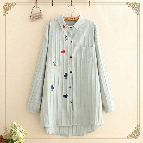 韓版寬鬆中長款刺繡長袖襯衫(3色F碼)【OREAD】 1
