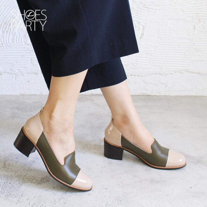 【P2-18810L】安定感拼接粗跟歐貝拉_Shoes Party 1