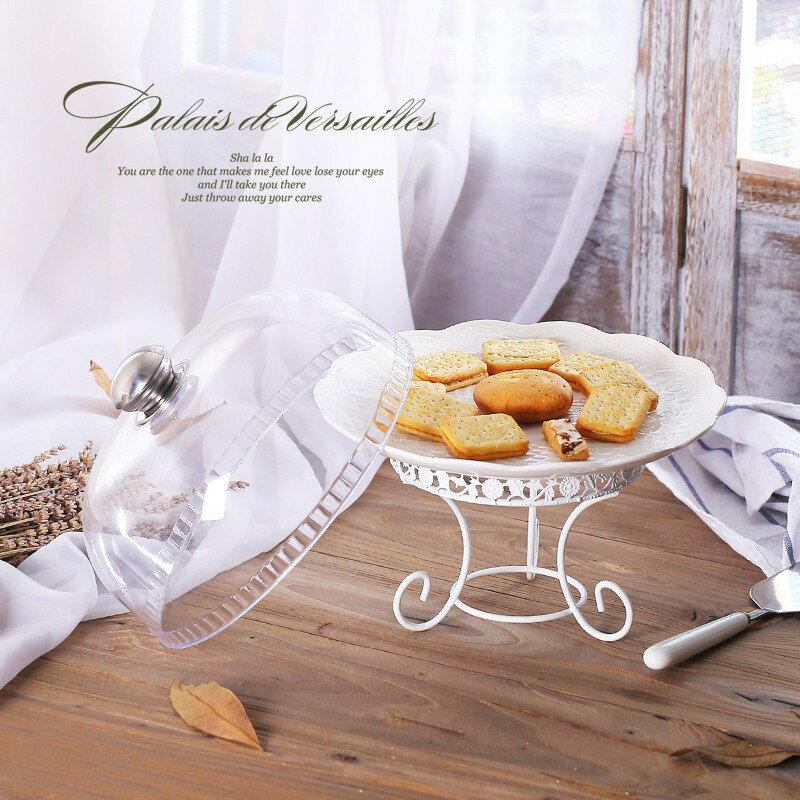 歐式陶瓷兩層蛋糕託盤 下午茶三層點心架 單層婚慶甜品臺帶塑膠蓋 艾琴海小屋