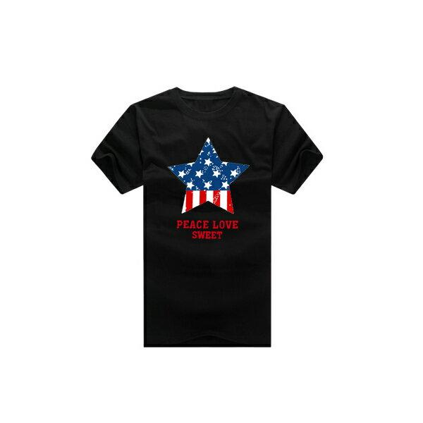 T恤 情侶裝 客製化 MIT台灣製純棉短T 班服◆快速出貨◆獨家配對情侶裝.藍紅圓圈星星【YC229】可單買.艾咪E舖 5