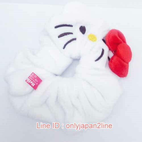 【真愛日本】17012500002絨毛大腸圈-KT白紅  三麗鷗 Hello Kitty 凱蒂貓  髮飾 飾品