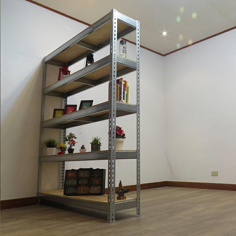 收納架 置物架 書架 層架 鐵架 鍍鋅免螺絲角鋼架(4x1.5x6尺 5層) 空間特工z4015650