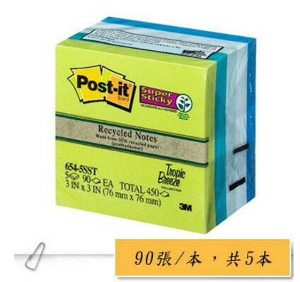 聯盟文具:3M654-5SST利貼狠貼可再貼便條紙(混色組)