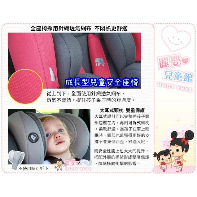 麗嬰兒童玩具館~YODA優寶貝-成長型兒童安全座椅1-12歲.五點式安全帶.可調頭枕高低(貴族紅 / 雅仕藍 / 尊爵灰) 5