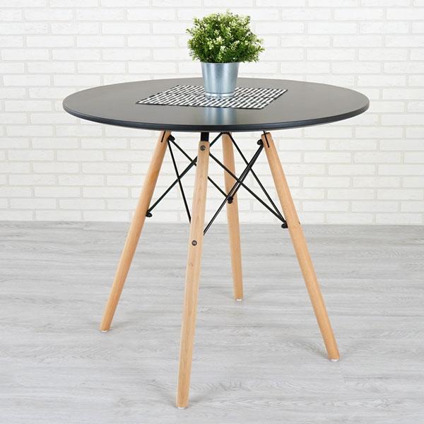 優世代居家生活館:餐桌洽談桌造型桌《Yostyle》菲爾造型圓桌(沉穩黑)