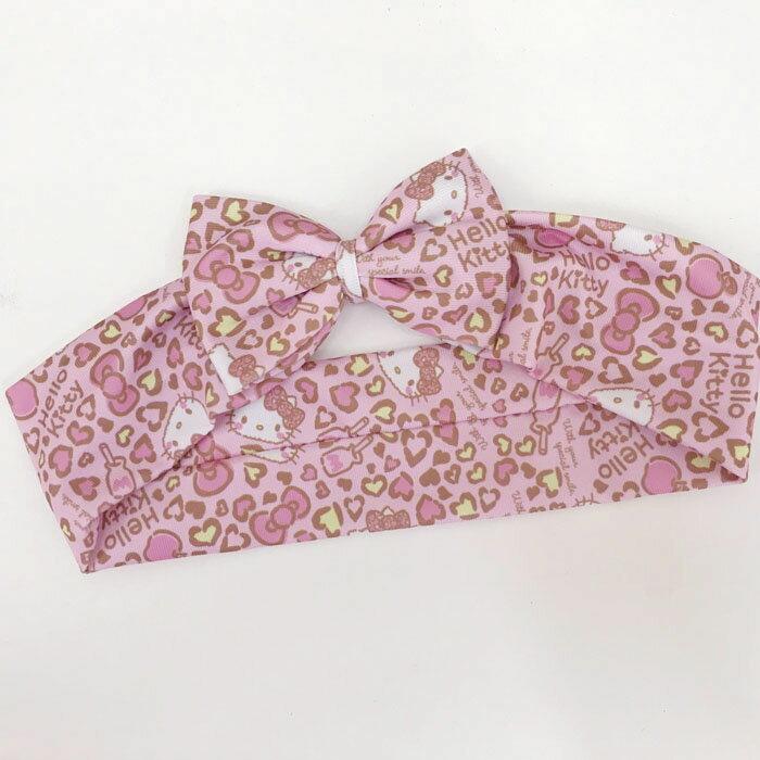 【真愛日本】17110400010 蝴蝶結束髮髮帶-KT豹紋粉 三麗鷗 kitty 凱蒂貓 髮束 髮飾 美髮飾品