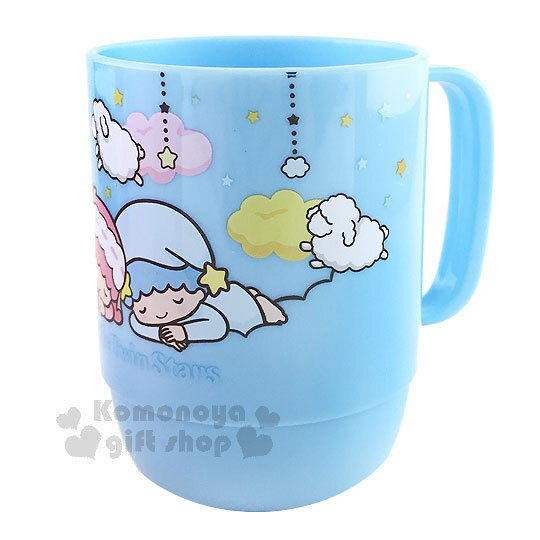 〔小禮堂〕雙子星 塑膠小水杯《藍.睡覺.星星.綿羊》容量約350ML