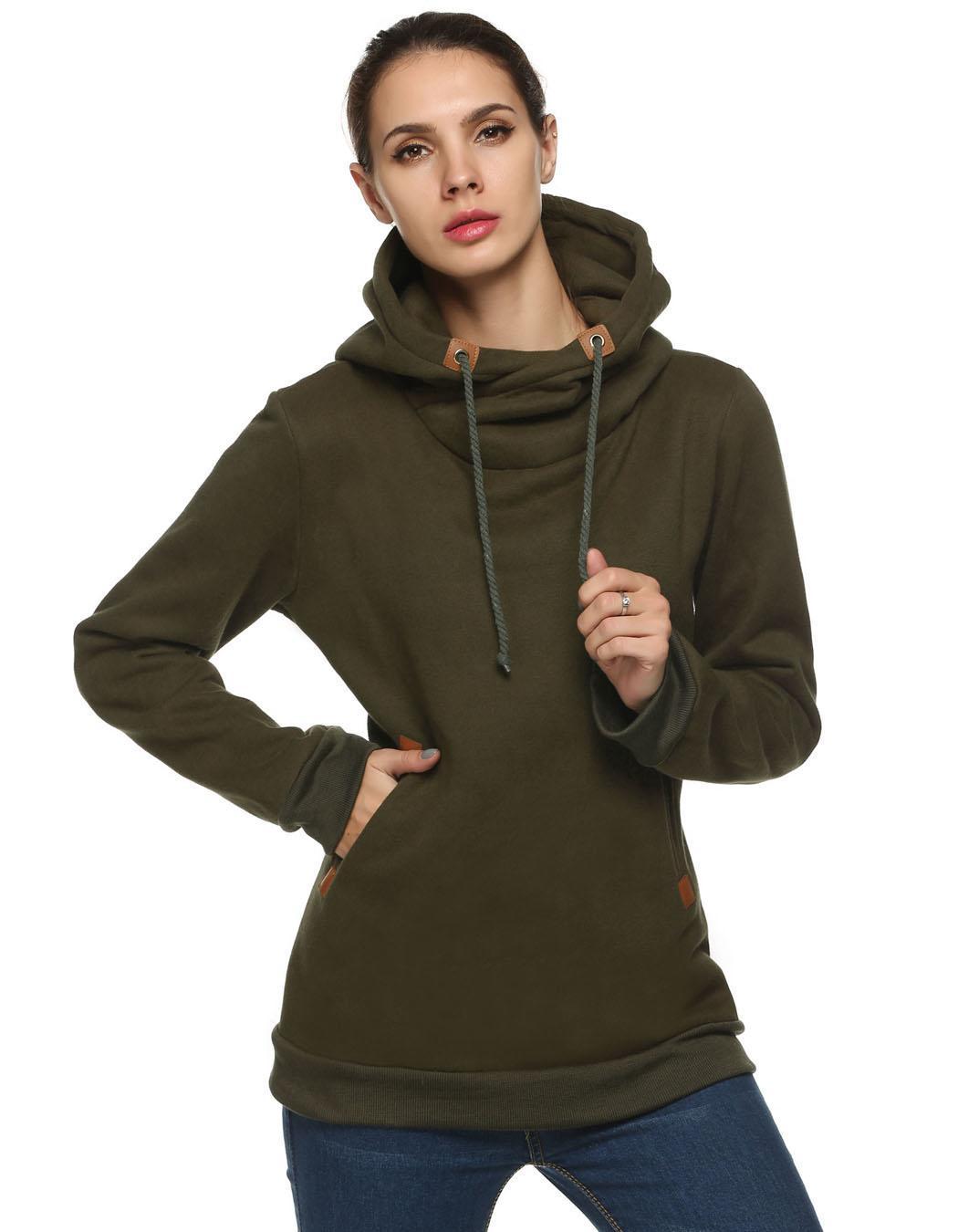 Women Long Sleeve Casual Pullover Hooded Sweatershirt Hoodies 1
