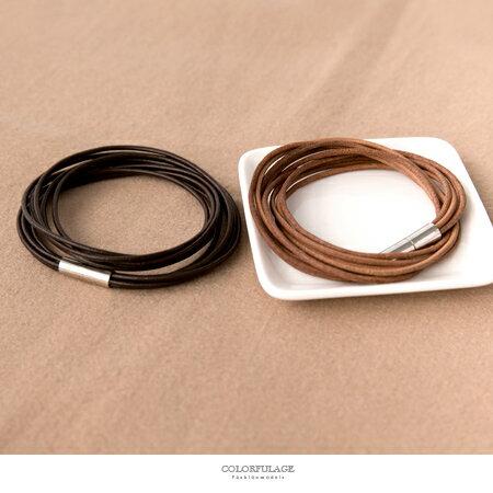 手環 雙圈細皮革磁吸式纏繞皮革手鍊 輕鬆配戴 時尚休閒風 中性款式 柒彩年代【NA384】多層次感